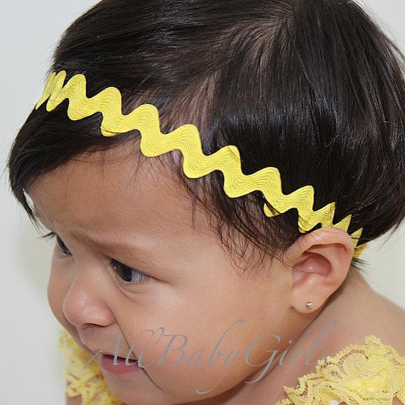 Свадьба - ZigZag Yellow Chevron Halo Headband for Newborns, Infants, Toddlers, & Girls. Newborn Headband, Yellow Baby Headband, Infant Headband