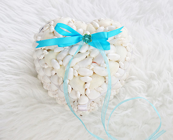 Shabby Chic Beach Pillows : Beach Seashell Ring Bearer Wedding Pillow Box - Heart Shabby Chic Hydrangea Filled Box #2347760 ...