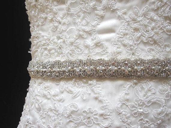 Свадьба - Bridal wedding dress gown crystal sash embellished belt