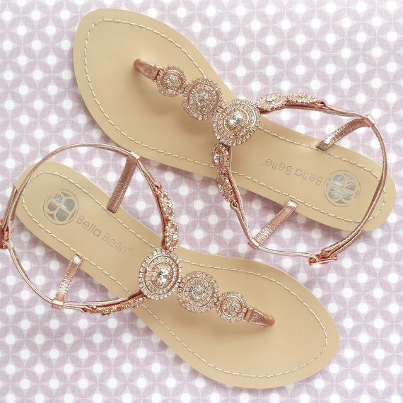 Hochzeit - Bohemian Boho Chic Wedding Sandals with Rose Gold Round Crystals Jewels Bridal Thong Shoes Destination Beach Wedding Something Blue