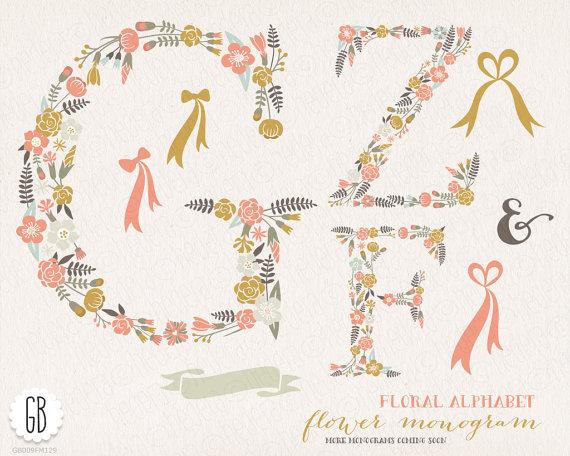 Hochzeit - Flower letters, floral type, alphabet, clip art, vector, room decoration, initials, monograms, wreaths, invitation, initials, birthday gift