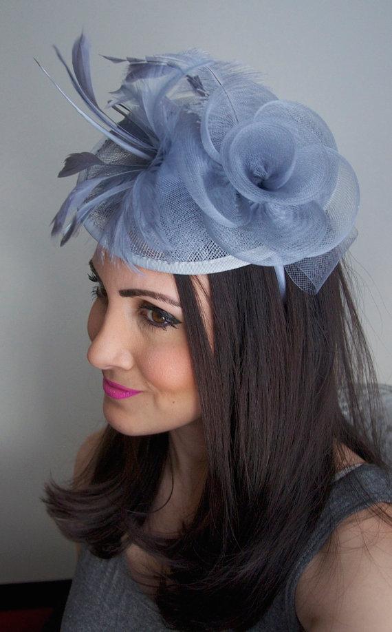 "Wedding - Gray Fascinator - ""Kate"" Mesh Couture English Hat Fascinator Headband"