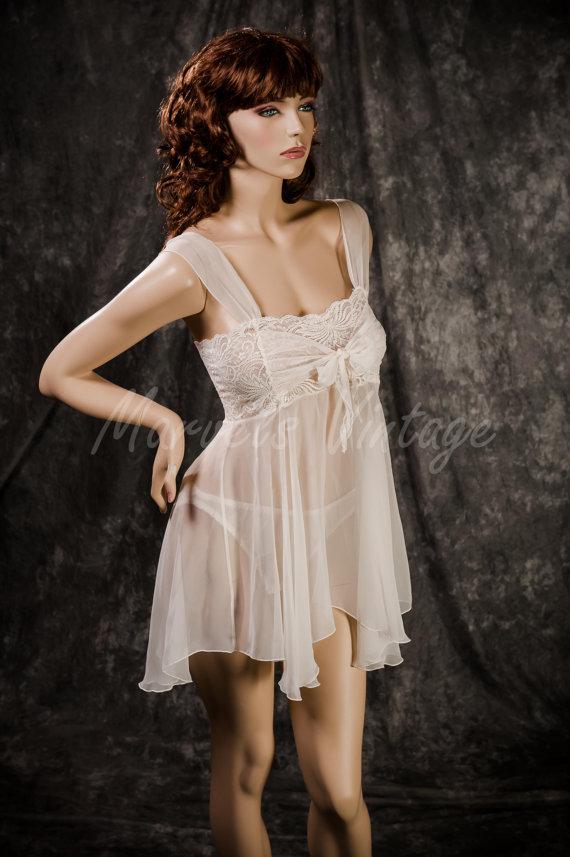 f3f928812 Vintage White Chiffon Victoria s Secret Lingerie Sheer White Bridal Babydoll  and Panty Set Size Medium Honeymoon