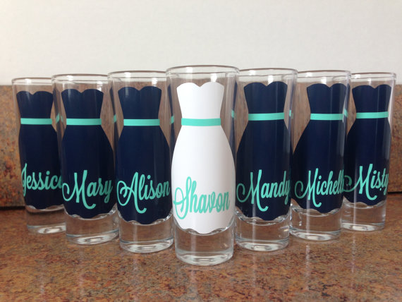 Wedding - Wedding Glasses, Personalized Bachelorette/Bridesmaid Shot Glasses, Wedding Party Glasses (7)