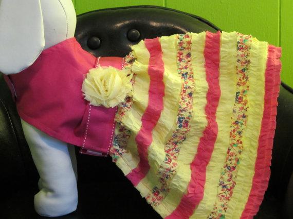 Свадьба - Pink and Yellow Ruffle Dress, Sizes Xsmall, Small & Medium