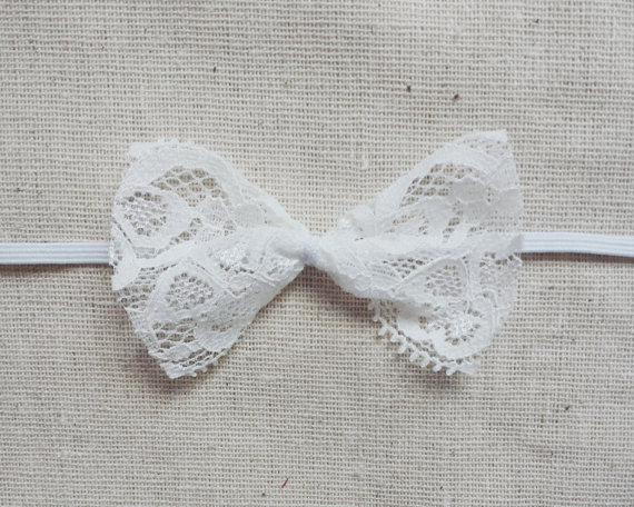 White Tiny Lace Bow Headband - Newborn Photo Prop - Thin - Small - Summer  Baby - Rustic Headband - Shabby Chic - Infant - Baby Girl - Simple c14213b07be