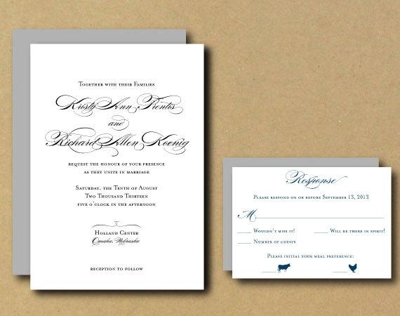 Свадьба - DIY Printable Wedding Invitation - Classic Script - Modern RSVP Option