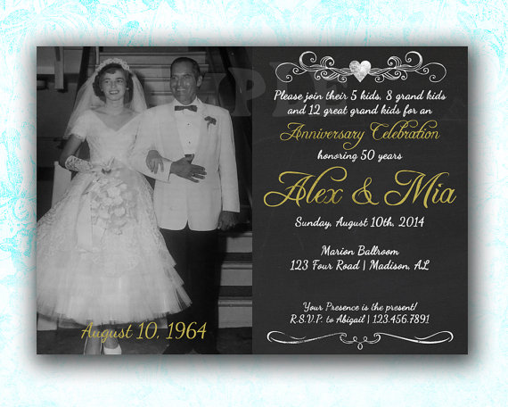 50th anniversary invitation - 50th anniversary ideas - 50th, Wedding invitations