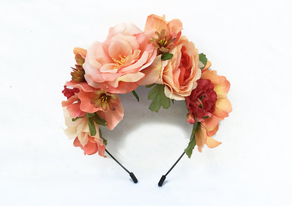 Wedding - Coral Peach Frida Kahlo Flower Crown, Flower Headband, Frida Kahlo Costume, Frida Kahlo Headpiece, Frida Kahlo Flower Headpiece, Floral