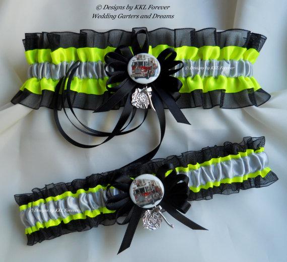 Mariage - Firefighter Wedding Garter Set Maltese Cross Fire Truck Charms Turn Out Gear Black Neon Yellow Garters