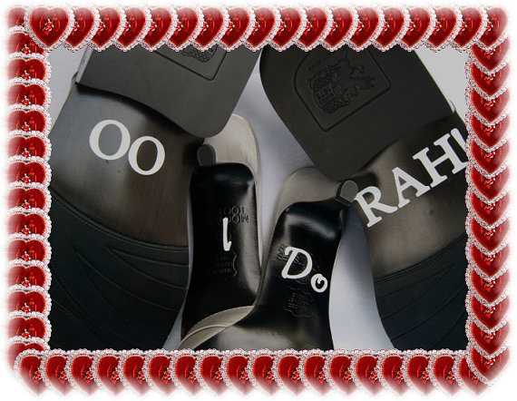 Mariage - Wedding Shoe Stickers - I Do Oo Rah or I Do Hoo Ah- Free Shipping - Marine Corps Wedding - Army Wedding