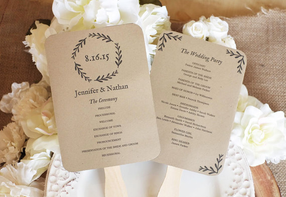 Mariage - Printable wedding fan program, rustic wedding program. Editable text, Woodland Wreath, 5 x 7, PDF