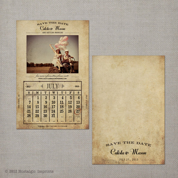 "Hochzeit - Vintage Save the Date Card - the ""Calista"""