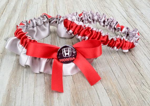Mariage - Honda Inspired Gray & Red Satin Bridal Wedding Car Keepsake Or Garter Set Custom Color Options
