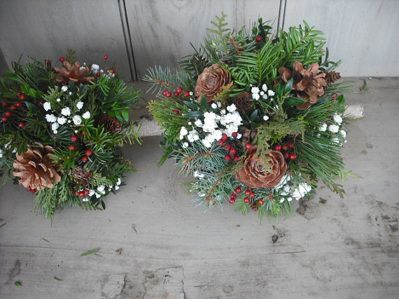 Hochzeit - Bridal bouquet made with fresh evergreens, Rose Hips and pine cones with birch handle. For your winter woodland natural wedding.