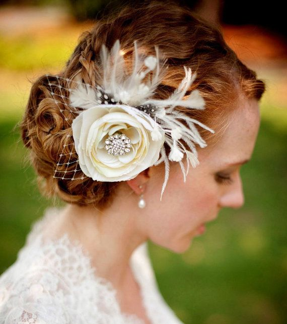 Mariage - Bridal Hair Fascinator, Woodland Wedding Headpiece, Feather Flower Hair Clip, Vintage Ivory, MELIANA