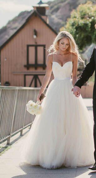 Wedding - Ivory Spaghetti Straps Sweetheart Neck Tulle Sleeveless Wedding Dress