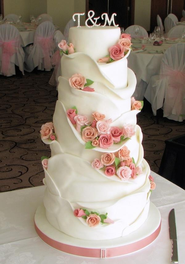 Wrapped Rose Tower Other Mixed Shaped Wedding Cakes