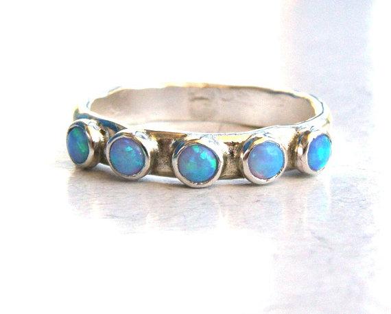 زفاف - Blue Opal stacking ring - gemstone fine silver sterling ring cocktail, handmade engagement, Birthstone ring, MADE TO ORDER