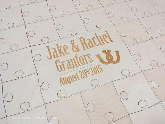 Wedding - Wedding Puzzle Guest Book (Horse Shoe) 32-300 Piece Wedding for Weddings, Guest Book Puzzle, Guestbook puzzle, Rustic, Laser Cut & Engraved