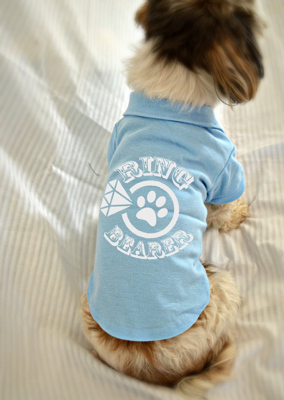 زفاف - Ring Bearer Dog Shirt. Wedding Party Small Dog Polo Shirt. Pet Clothes. Wedding Dog Clothing.