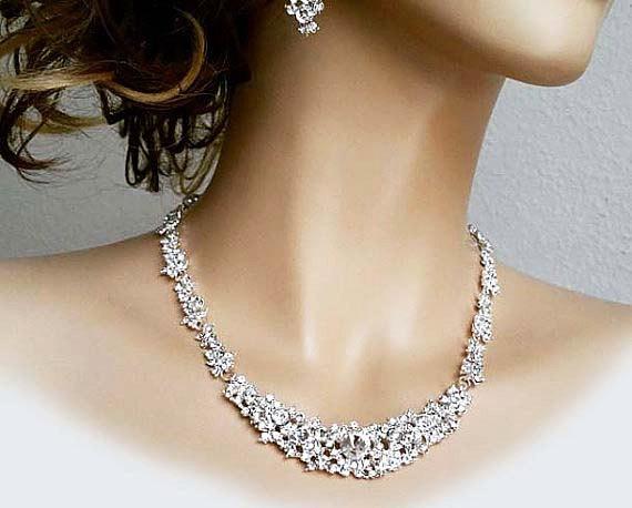 Hochzeit - Bridal Jewellery Set, Rhinestone Necklace Long Earrings, Bridal Jewelry Set, Statement Traditional Wedding Pearl Crystal Bridal Jewlery Set