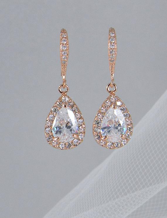 Wedding - Crystal Bridal earrings, Rose Gold Wedding jewelry Swarovski Crystal Wedding earrings Bridal jewelry, Ariel Rose Gold Drop Earrings