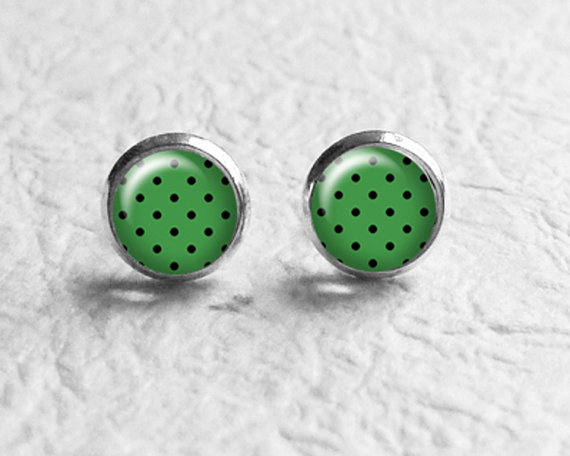 Wedding - Green Polka Dot Earrings Stud Post, Birthday Gift, Vintage Style, Retro Jewelry, Stud Earings, Best Friend Gift, E245