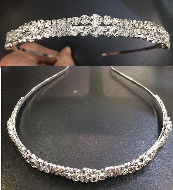 Hochzeit - Bridal Headband, Swarovski crystal rhinestone wedding headband, vine headband, wedding headband headpiece, bridal vine tiara/a