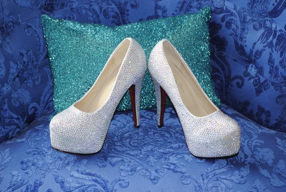 Hochzeit - Ready to Ship Crystal Swarovski Wedding Shoes SIZE 8 1/2