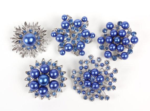 Hochzeit - 5 pcs Royal Blue Pearl Rhinestone Wedding Vintage Silver Brooch, Bridal Bridesmaid Gift DIY Wedding Brooch Bouquet Lot Gift Embellishment