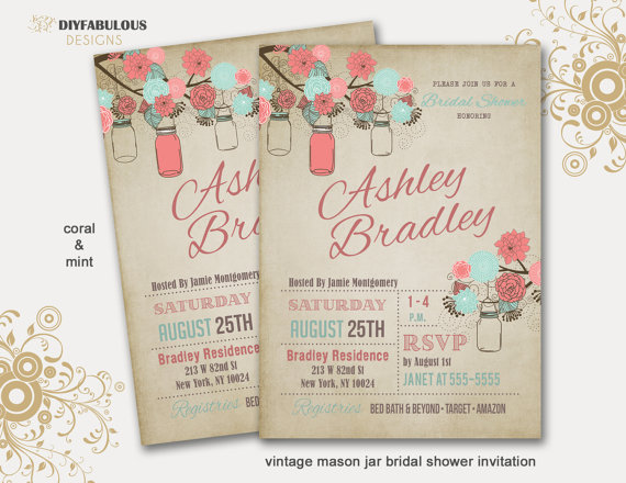 Rustic Bridal Shower Invitation Mason Jar Bridal Shower Invitation