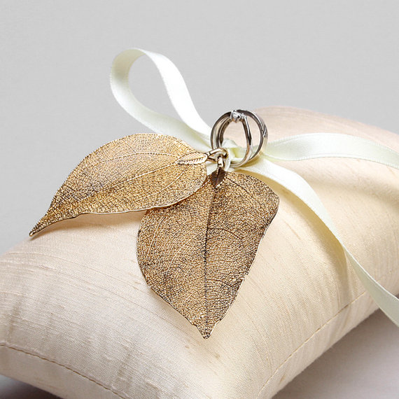 Wedding Ring Bearer Pillow Rustic Bridal Real Leaves
