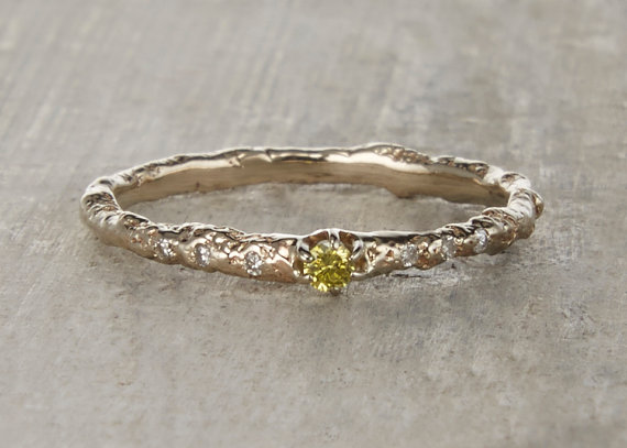 Hochzeit - Brooks Yellow Diamond Engagement Ring - 14kt Gold and Yellow Diamond Customizable Juniper Twig Engagement Wedding Ring