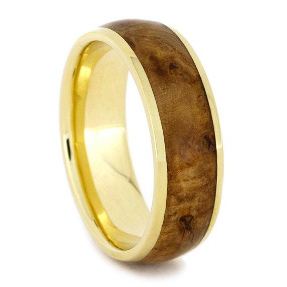 Mariage - 18k Gold Ring with Black Ash Burl Wood Ring Inlay, Yellow Gold Wedding Band