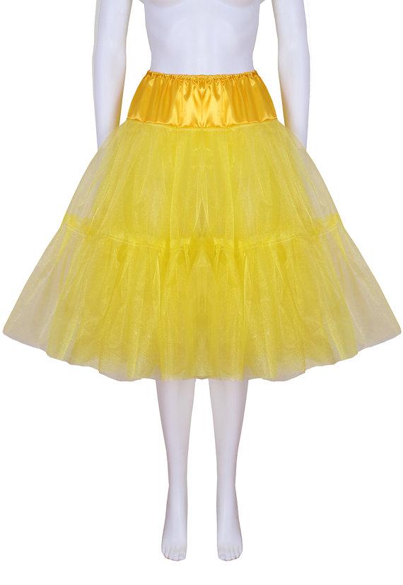 Mariage - Gorgeous Yellow 27 inch 2 tier 2 layer Satin & Organza petticoat. Bridal Retro Vintage Rockabilly 50's style