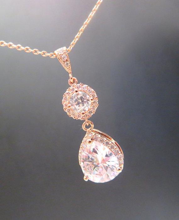 Mariage - Rose gold Wedding necklace, Rose Gold Bridal necklace, Wedding jewelry, Simple necklace, Crystal Bridal necklace, Teardrop necklace