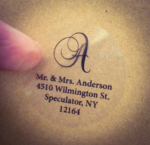 CLEAR SCRIPT MONOGRAM Address Labels For Wedding Invitation, Thank You Note  Envelope Seals, Custom Printed, Transparent Round Labels, Glossy