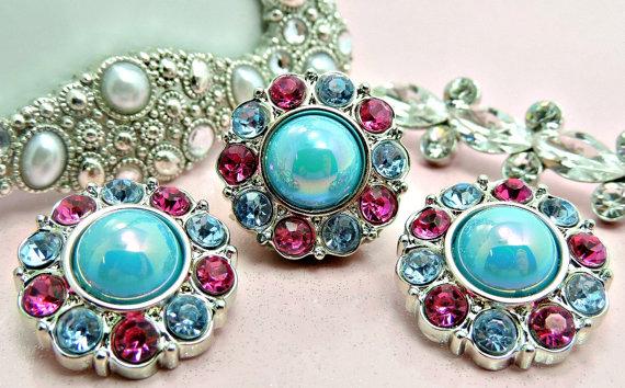 Hochzeit - Rhinestone Pearl Buttons / 3 Acrylic AB TURQUOISE Pearl Button W/ Light Blue And Turquoise Surrounding Rhinestone-25mm-2997-49P11&24R.