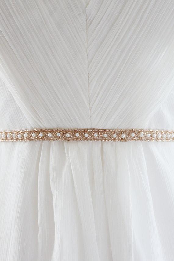 Mariage - CAYLEY - Beaded Pearl Bridal Sash in Champange
