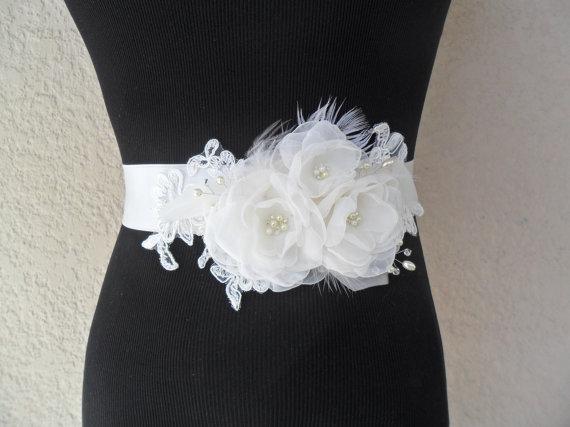 Hochzeit - Lace Sash, Boho Sash, Bridal Sash, Wedding Dress Accessory, Feathered Sash, Floral Sash, Organza Sash with pearls and swarovski crystals