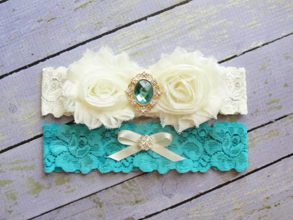 Mariage - SALE Aqua Wedding Garter, Garter Set, Bridal Garter, Keepsake Garter, Toss Garter, Mermaid Garter, Ivory Garter, Wedding Garter Belt