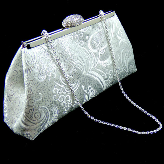 Mariage - Silver Paisley and Eggplant Bridesmaid Gift, Bridesmaid Clutch, Bridal Clutch, Wedding Clutch, Mother Of The Bride Gift, Gifts For Her