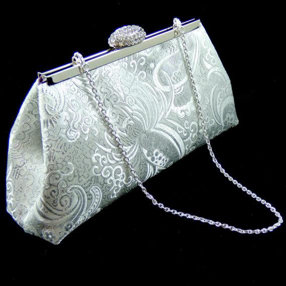 زفاف - Silver Paisley and Eggplant Bridesmaid Gift, Bridesmaid Clutch, Bridal Clutch, Wedding Clutch, Mother Of The Bride Gift, Gifts For Her