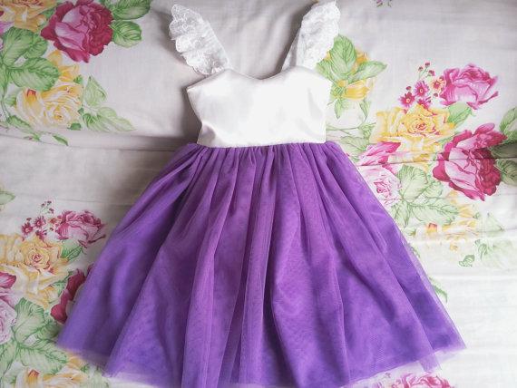 Wedding - Ivory and Purple Flower Girls dress, Toddler girl dress, Baby girl dress, Girl birthday outfit, Rustic flower girl dresses.