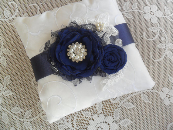 Mariage - Navy Ring Bearer Pillow, Lace Ring Pillow, Wedding Accessory, Ring Bearer Pillow, YOUR CHOICE COLOR, Blue Ring Bearer Pillow, Something Blue