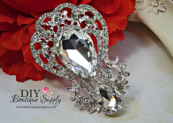 Mariage - Gorgeous Crystal Rhinestone Brooch - Wedding Cake Brooch Pin Accessories - Crystal Brooch Bouquet - Bridal Brooch Sash Pin 65mm 942198