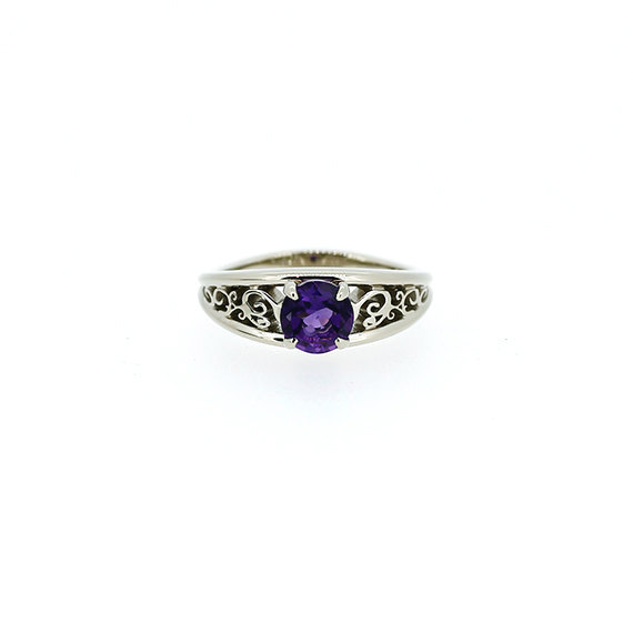 Mariage - 0.70ct Amethyst ring engagement ring, filigree, purple engagement, solitaire ring, amethyst wedding ring, unique, nickel free engagement