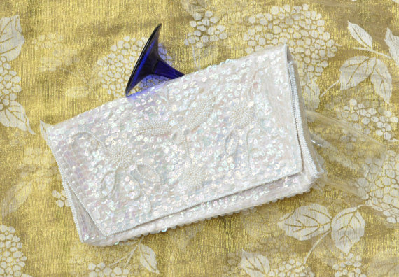 Mariage - Vintage Bridal Wedding Beaded Handbag/Clutch/Cocktail Purse/Multi Color on White Iridescent Sequins/Theater Costume Japan/La Regale/Prom