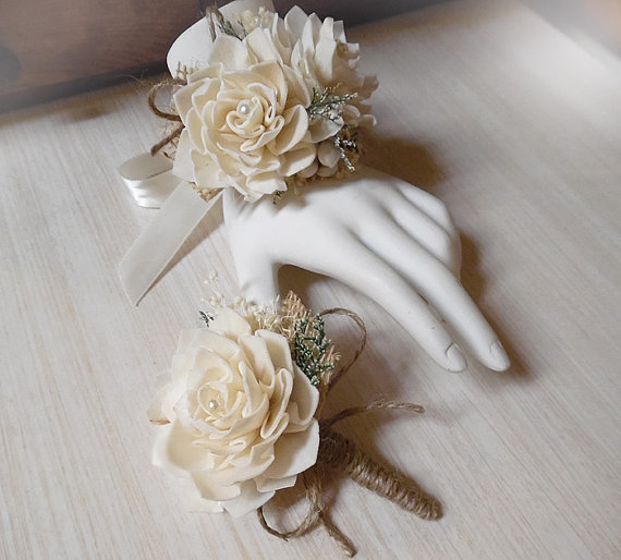 زفاف - Wrist Corsage and/or Boutonniere, Sola Flowers, Rustic Country Wedding, Corsage & Boutonniere. Made to Order.